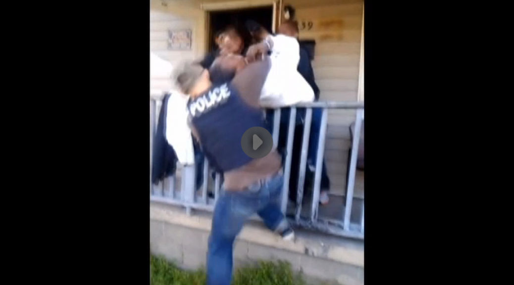 Cop attacks woman on her own porch