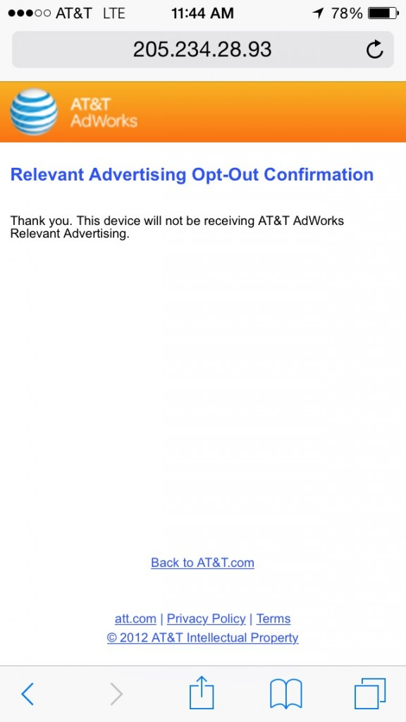 ATT NON Opt Out